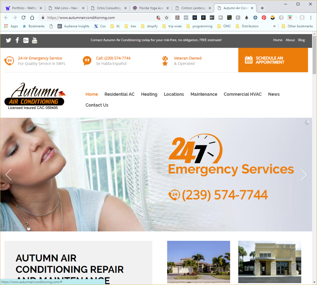 Wethersfield Web Services Profile Page - Autumn Air Conditioning Website Image