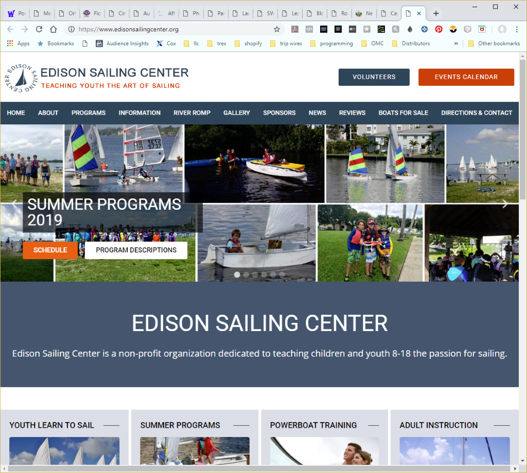 Wethersfield Web Services Profile Page - Edison Sailing Center Website Image