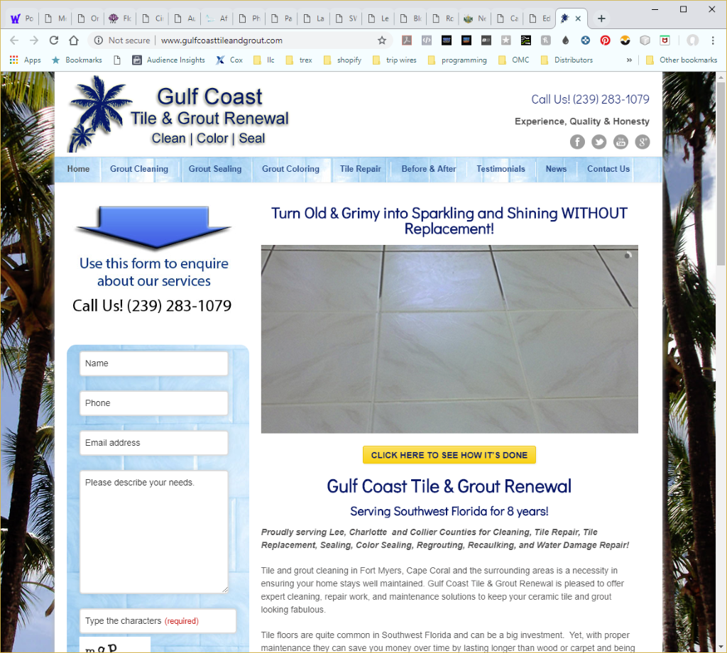 Wethersfield Web Services Profile Page - Gulf Coast Tile and Grout Website Image