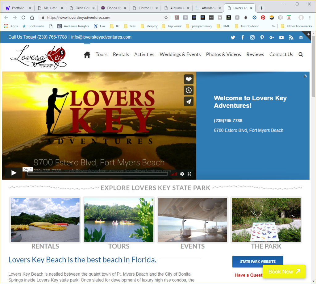 Wethersfield Web Services Profile Page -Lovers Key Adventures Website Image