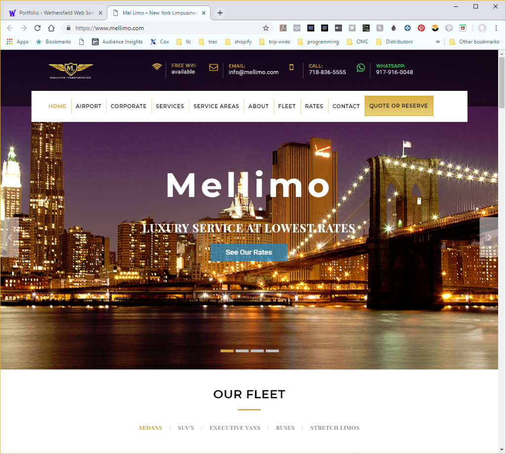 Wethersfield Web Services Profile Page - MelLimo Website Image